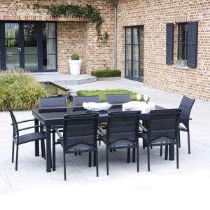 Ensemble table et chaises de jardin MODULO 8 PLACES NOIR WILSA