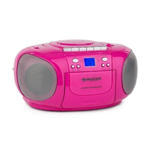 auna BoomGirl Boom Box GhettoBlaster Radio lecteur CD K7 USB MP3 AUX - rose AUNA