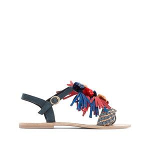 Sandales cuir détail pompons pied large 38-45 CASTALUNA