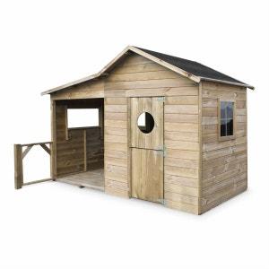 Maisonnette en bois FSC Camelia de 3m² avec véranda, pin autoclave ALICE S GARDEN