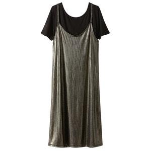 Robe longueur genou en polyester, manches courtes R édition