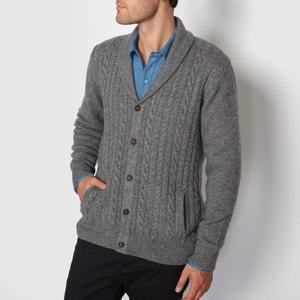 Sweter rozpinany z kołnierzem szalowym, splot warkoczowy R essentiel