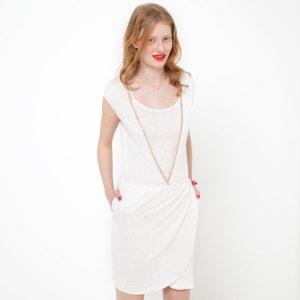 Drapiertes Kleid, Leinen SOFT GREY