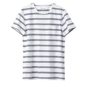 T-shirt com gola redonda às riscas 100% algodão R essentiel