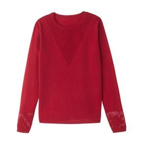 Пуловер с ажурной вставкой, 100% шерсть La Redoute Collections
