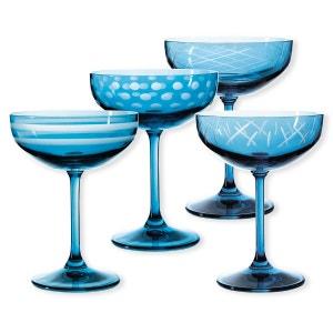 Coupes à champagne taillées couleur bleu 20cl - Lot de 4 - QUORUS BRUNO EVRARD