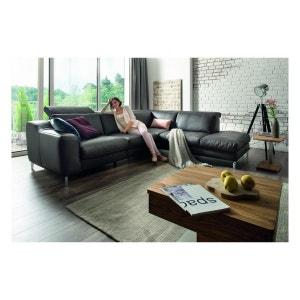 Canapé angle cuir de relaxation EM WESTER 4 places avec ottomane SEANROYALE