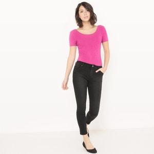 Verkorte jeans, brossed zwart La Redoute Collections