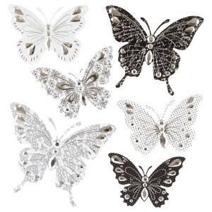 6 Stickers 3D Papillon - Noir et gris ATMOSPHERA