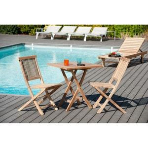 Salon de jardin en teck Table carrée pliante 70 cm et 2 chaises Java pliantes SUMMER PIER IMPORT