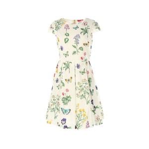 Vestido con cuello redondo y estampado de flores RENE DERHY
