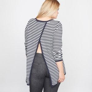 Camiseta con espalda fantasía de lino y algodón CASTALUNA