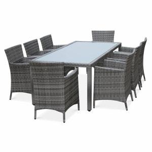 Salon de jardin en résine tressée nuances de gris, 8 fauteuils, table 200cm, structure en aluminium, coussins gris chiné ALICE S GARDEN