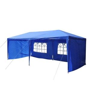 Tonnelle barnum tente de réception 3 x 6 m acier polyéthylène avec fenêtres bleu - OUTSUNNY OUTSUNNY