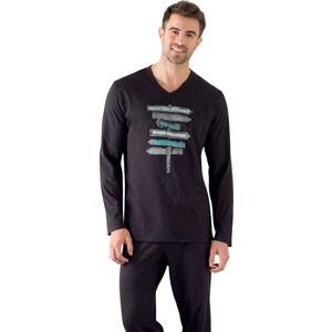 Pyjama long, manches longues, T-shirt imprimé ATHENA