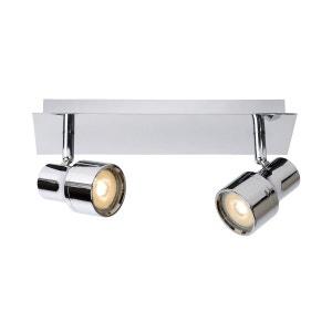 Réglette design 2 lumières Led SIRENE-LED argentée en métal KERIA