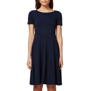 Wijduitlopende korte effen jurk met korte mouwen ESPRIT