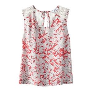 T-shirt com decote em V, floral SUNCOO