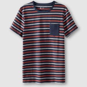 T-shirt com gola redonda às riscas R édition
