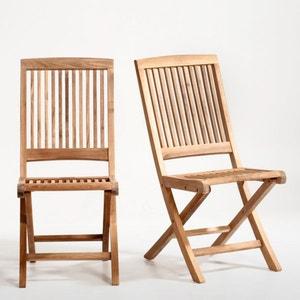 Chaise pliante, teck, lot de 2 La Redoute Interieurs