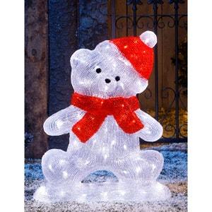 Grand ours acrylique bi-colore H.55cm - Lumineux 80 LED ! - Décoration de Noël ! NONAME