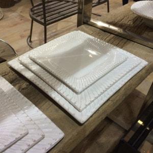 2 Assiettes plates carrées on en faience décor renaissance - ATHEZZA