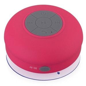 Mini enceinte Bluetooth ronde kit main libre ventouse waterproof Rose Yonis