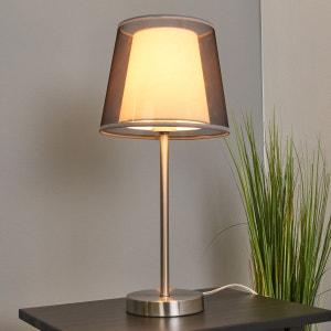 Lampe à poser en textile Weni avec abat-jour noir LAMPENWELT