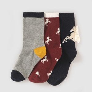 3er-Pack Socken, Pferdemotive, 3–12 Jahre abcd'R