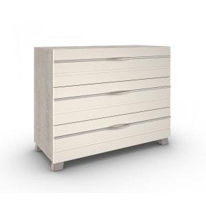 Commode 3 tiroirs imitation chêne lin CO4003 TERRE DE NUIT