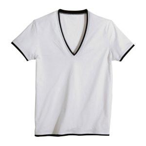 T-shirt com decote em V, puro algodão PEQUENOS PREÇOS