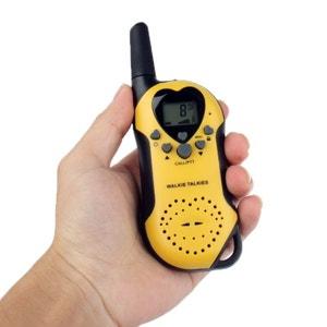 Set Talkie walkie push to talk portée 3-5 km écran LCD 8 canaux Jaune Yonis