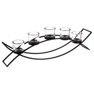 Photophore sur pied forme arc de cercle en métal noir avec 5 bougeoirs en verre 54x9xH17cm PIER IMPORT