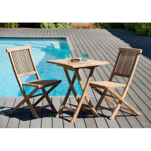 Salon de jardin en teck Table carrée 60 cm et 2 chaises Java pliantes SUMMER PIER IMPORT