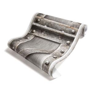 Papier Peint Poutre métallique à treillis acier brossé KOZIEL