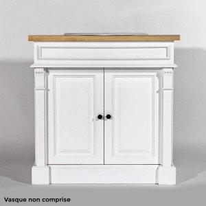 Meuble salle de bain bois massif blanc et ciré 1 vasque, 2 portes 1 étagère     N4003-blanc MADE IN MEUBLES
