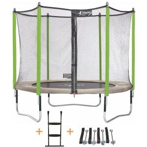 Trampoline de jardin 305 cm + filet de sécurité + échelle + kit d'ancrage JUMPI ZEN 300 KANGUI