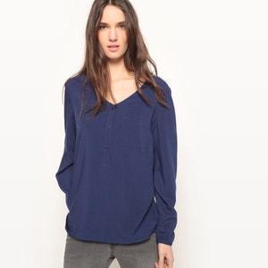 Blusa vaporosa con cuello de pico y pequeño bolsillo La Redoute Collections