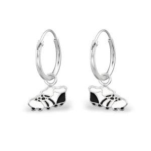 Boucles d'oreilles Enfant Créoles 12 mm Chaussures Crampon Football Rugby Noir & Blanc Argent 925 SO CHIC BIJOUX