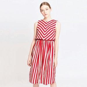 Rozszerzana, półdługa sukienka w paski MIGLE+ME