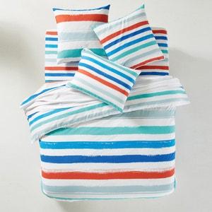 Brush Striped Cotton Duvet Cover La Redoute Interieurs