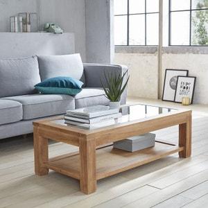 Table basse en bois de teck vitrée 120 BOIS DESSUS BOIS DESSOUS
