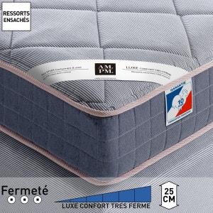 Matelas à ressorts ensachés luxe, confort ferme, H25 cm, Altagama AM.PM.