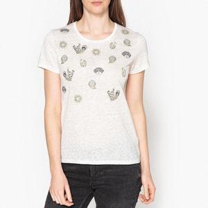 T shirt in lino con motivi ricamati LILY BERENICE