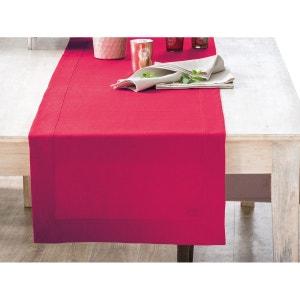Vis-à-vis rouge basque- lin déperlant- uni, brodé BLANC CERISE