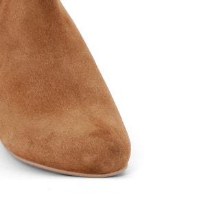 Mid-Heel Leather Ankle Boots with Tassel Trim CASTALUNA