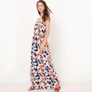 Długa sukienka z nadrukiem, cienkie ramiączka VILA