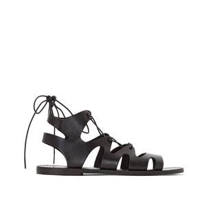 Sandales plates, cuir, Alix JONAK