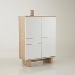 Bahut 3 portes, 1 tiroir finitions chêne brossé et blanc, TALÉ La Redoute Interieurs