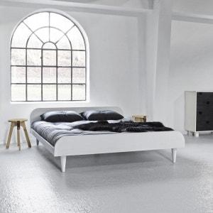 Pack futon latex gris clair   lit twist bois blanc TERRE DE NUIT
